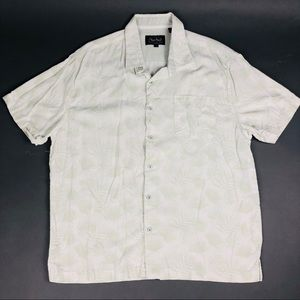 Nat Nast Hawaiian Shirt Men L Beige Button Up Silk